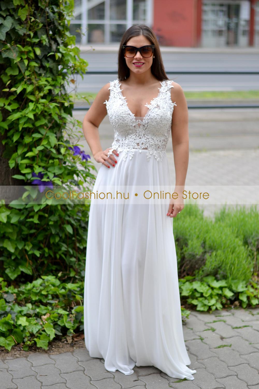 313cf28183 Csipkés gyöngyös fehér muszlin maxi ruha - Cool Fashion