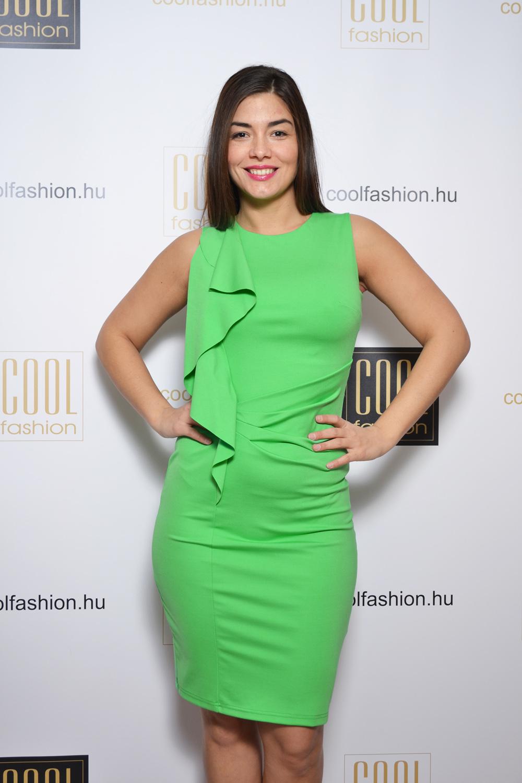 37fc6fbb3b Oldalt fodros zöld ruha - Cool Fashion