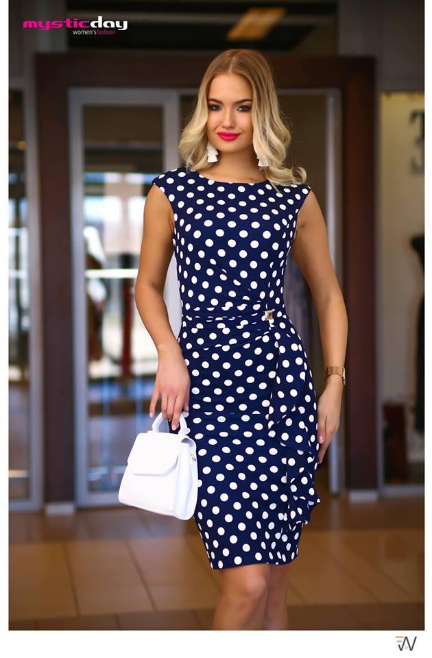 680e0ff830 Cosmo kék-fehér pöttyös ruha - Cool Fashion