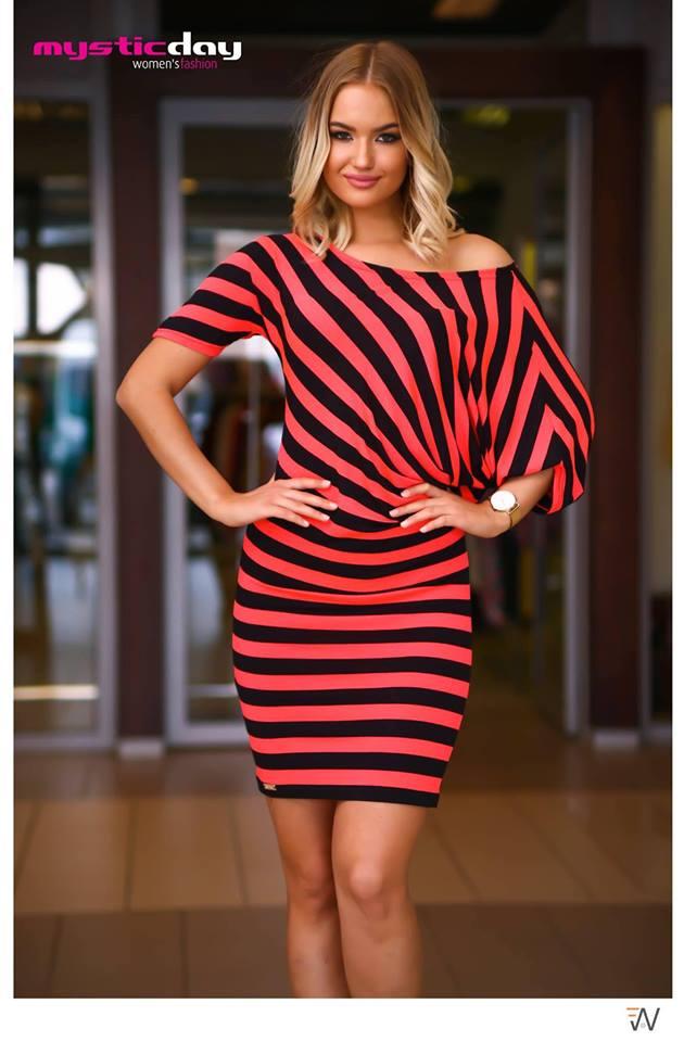 8e367e62ce Zsanett neon csíkos ruha/tunika - Cool Fashion