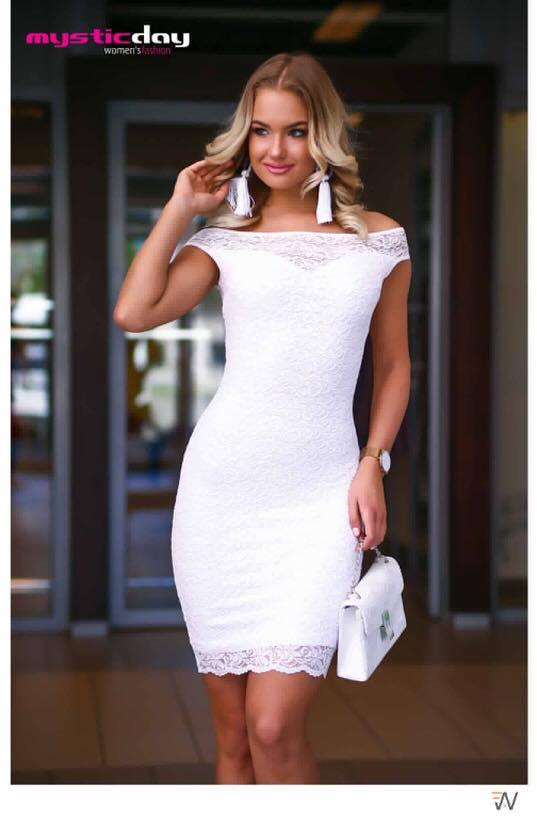 3f62d31444 Andi csónak vállú csipkés fehér ruha - Cool Fashion