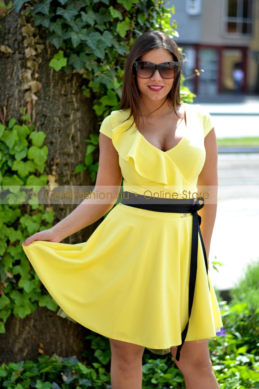 8f00c3c159 Vállán fodros sárga loknis tüll ruha - Cool Fashion