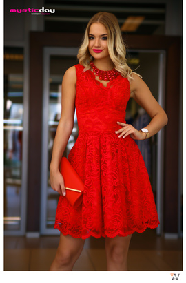 9e821698aa Piros csipkés loknis ruha - Cool Fashion
