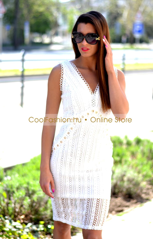 85dc51f447 Horgolt csipkés szegecses fehér ruha - Cool Fashion