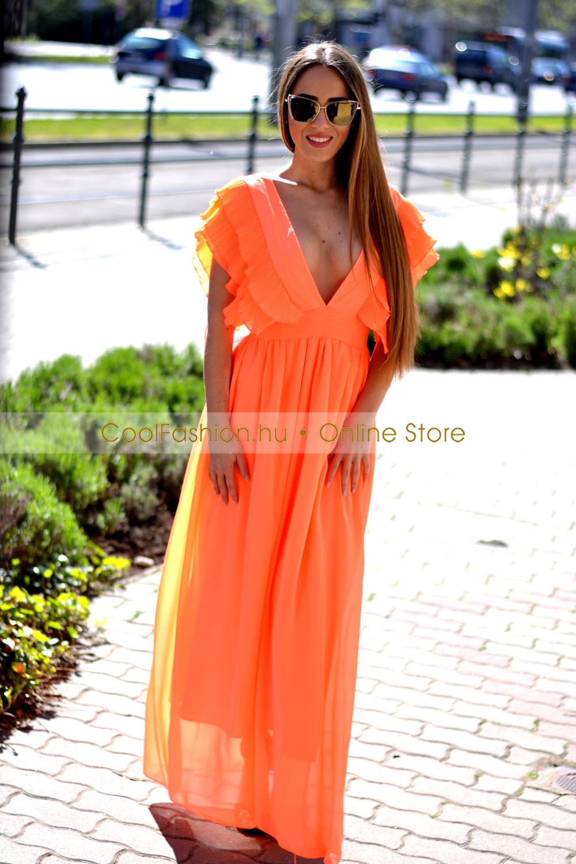 9b5f4e9209 Neon narancs pliszírozott maxi ruha - Cool Fashion
