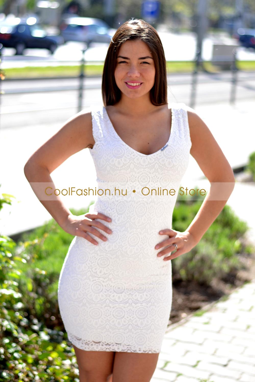 ac49fb5254 Eva hátul kivágott fehér csipke ruha - Cool Fashion