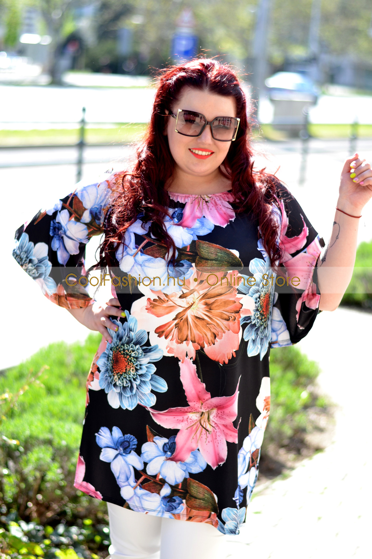 3eb5ed0222 Virágos gumis vállú ruha/tunika - Cool Fashion