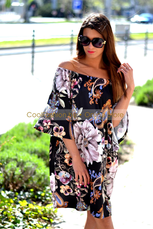 d84994d544 Virágos gumis vállú ruha/tunika - Cool Fashion
