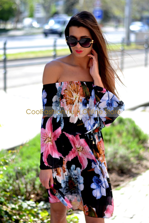 8f0434a9c0 Gumis vállú virágos pliszírozott muszlin ruha - Cool Fashion