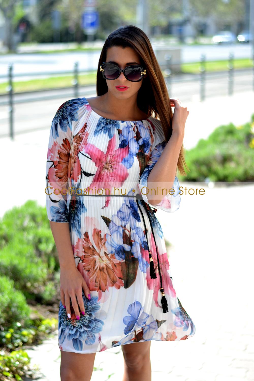 5596aa510d Gumis vállú virágos pliszírozott muszlin ruha - Cool Fashion