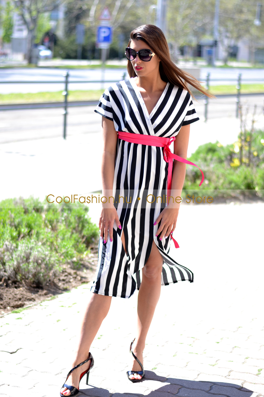 db440ed860 Karolina fekete-fehér csíkos midi ruha - Cool Fashion