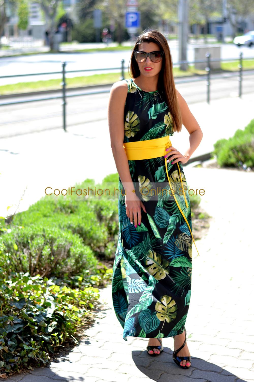 7a709f177d Héra levél mintás lenge maxi ruha - Cool Fashion