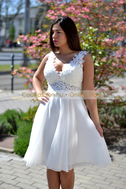 3fe5765b11 Senilla fehér csipkés gyöngyös push-up muszlin ruha - Cool Fashion