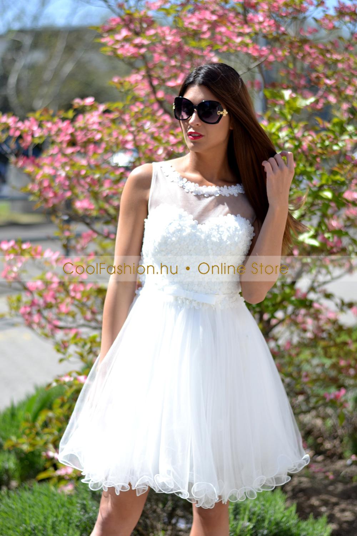 2f0532b4f0 Fehér görög 3D virágos tüll ruha - Cool Fashion