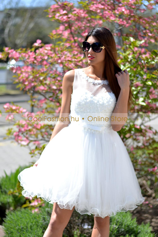 31e6618ac2 Fehér görög 3D virágos tüll ruha - Cool Fashion