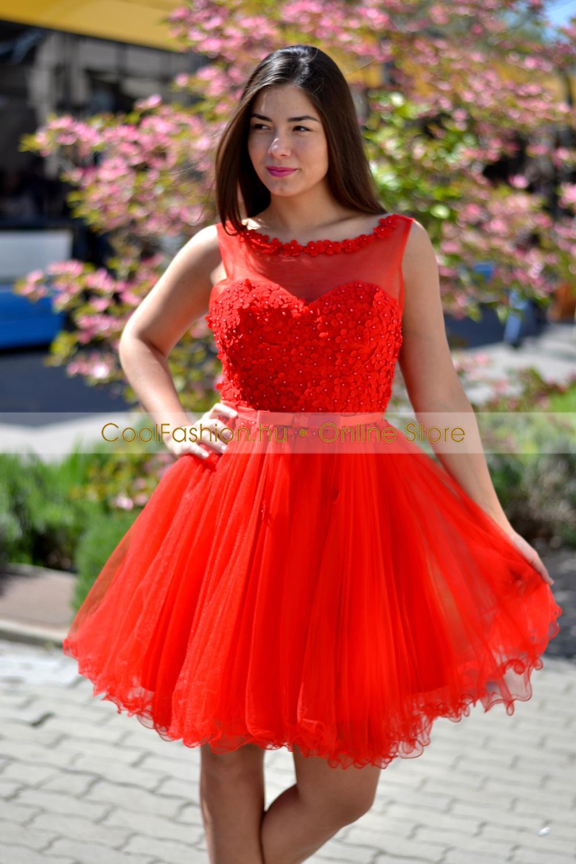 99a15b9d29 Piros görög 3D virágos tüll ruha - Cool Fashion