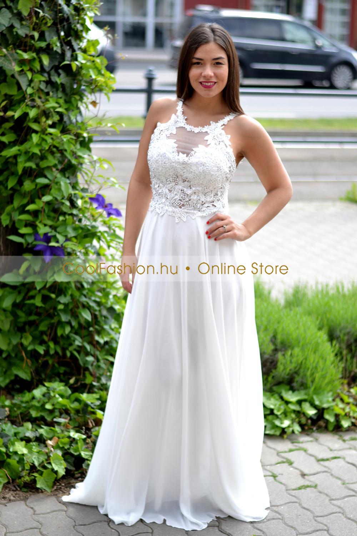cbbe3f5c12 Köves fehér csipkés-necc görög maxi ruha - Cool Fashion