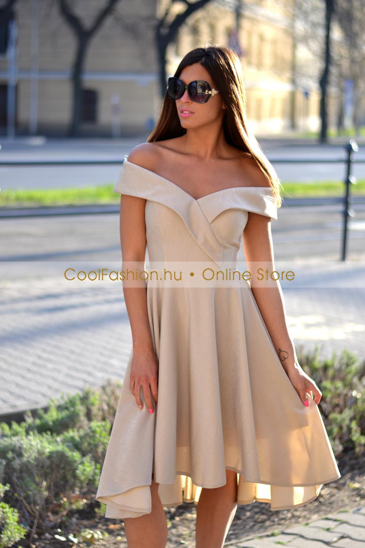 5a3a7db329 FV ejtett vállú loknis lurex ruha - Cool Fashion