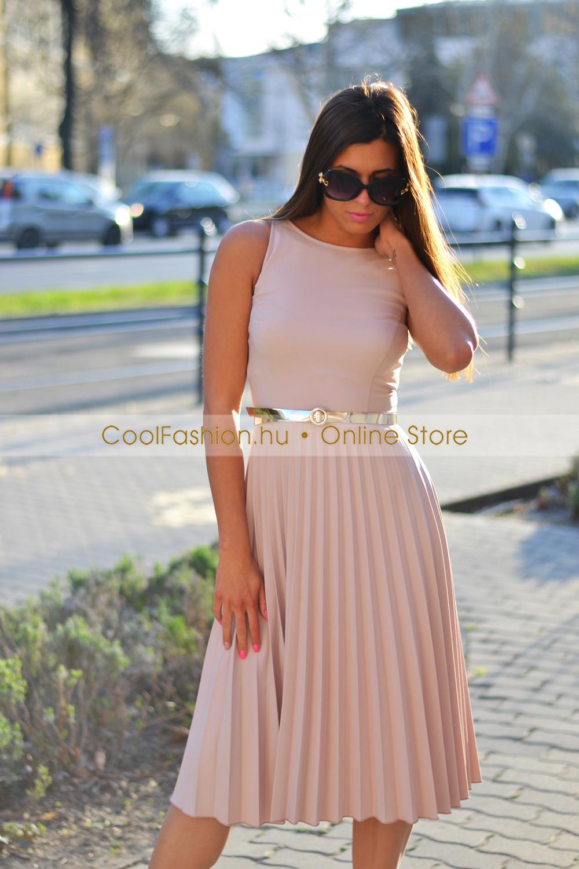 4a188bb336 FV pliszírozott midi trikó ruha - Cool Fashion