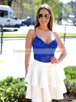 ca2b5a88fa Neoprén fehér 2 fodros szoknya - Cool Fashion