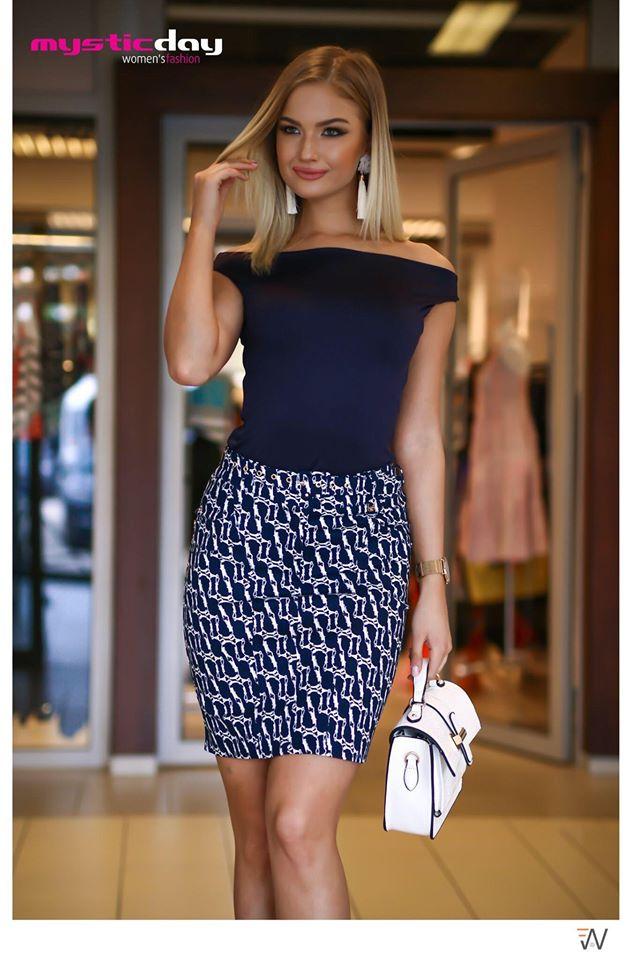 8403b2c878 Láncmintás kék farmer szoknya - Cool Fashion