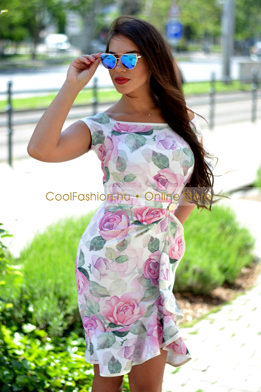 362b6a8dde Fortuna virágos fodros ruha - Cool Fashion