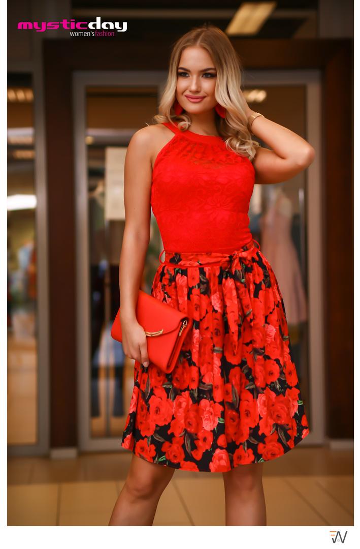 e9b497e4a6 Eliz piros csipkés rózsás loknis ruha - Cool Fashion