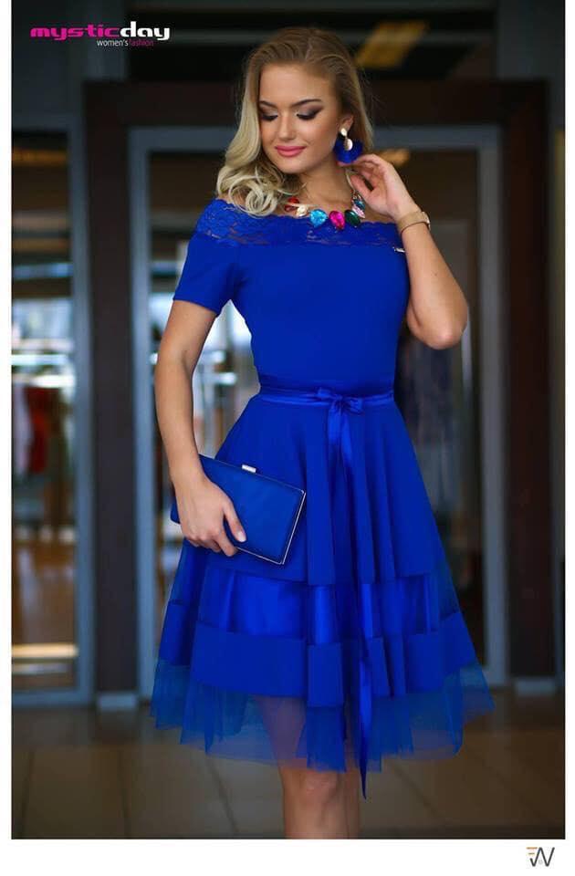 e2595e24d3 Királykék rövidujjú csipkés vállú tüll loknis ruha - Cool Fashion