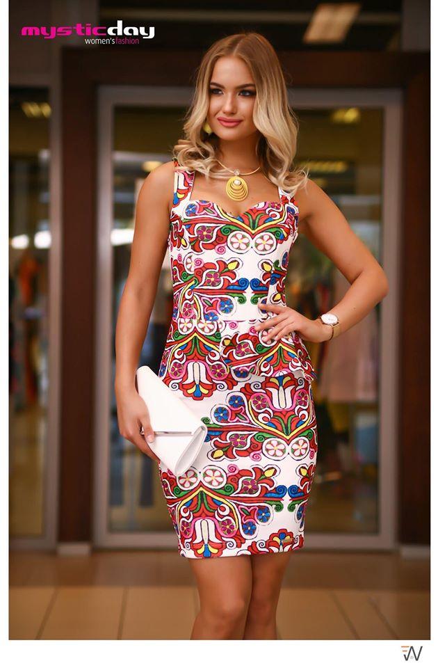 9565c2f924 Paula népi mintás peplum ruha - Cool Fashion