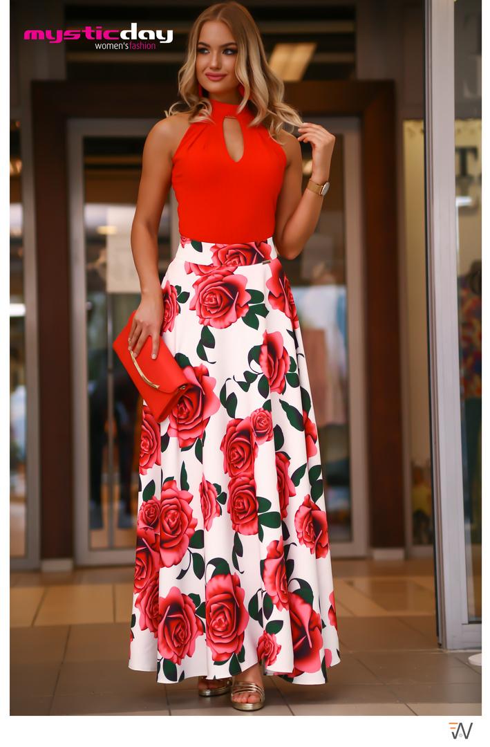 b53e8df97b Viva rózsa mintás maxi szoknya - Cool Fashion