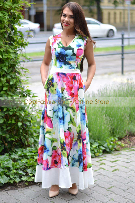 8b50f03c75 Évi virágmintás maxi ruha - Cool Fashion