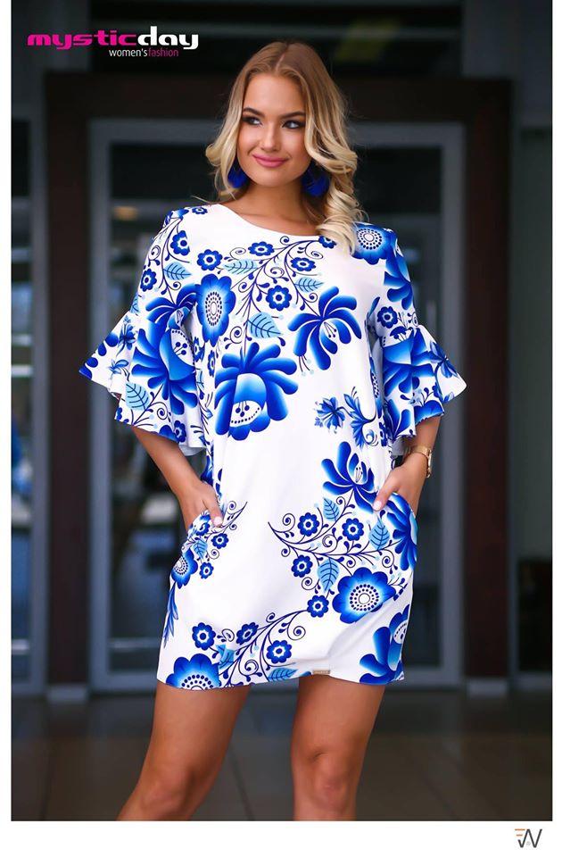 297ff437e3 Alba matyó mintás tölcsér ujjú zsák ruha/tunika - Cool Fashion