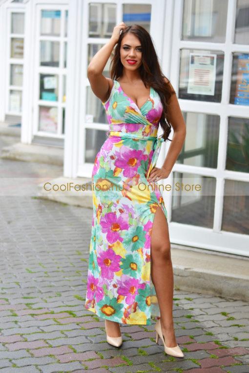 39ca830084 Színes virágos ujjatlan maxi ruha - Cool Fashion