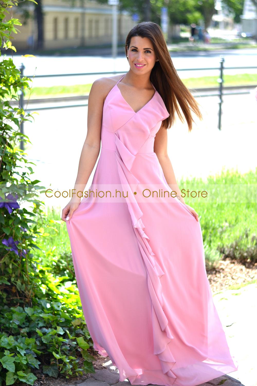 9966a2ae17 Rózsaszín fodros muszlin maxi ruha - Cool Fashion
