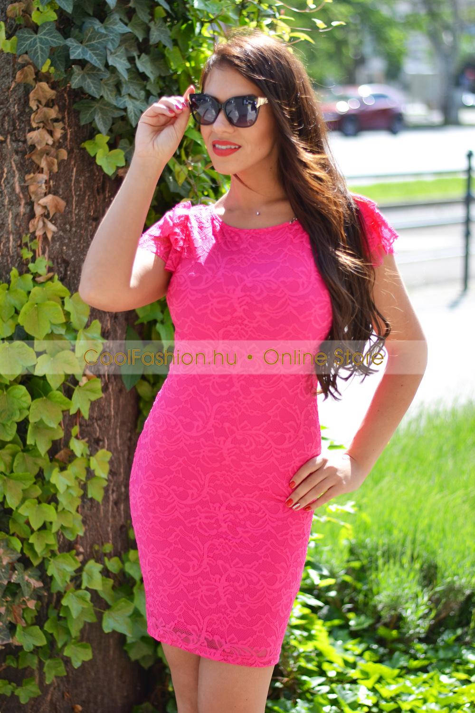 895c11f59e Milda csipkés fodros ujjú ruha - Cool Fashion