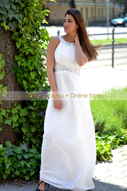 e0238c09f2 Köves fehér görög maxi ruha - Cool Fashion