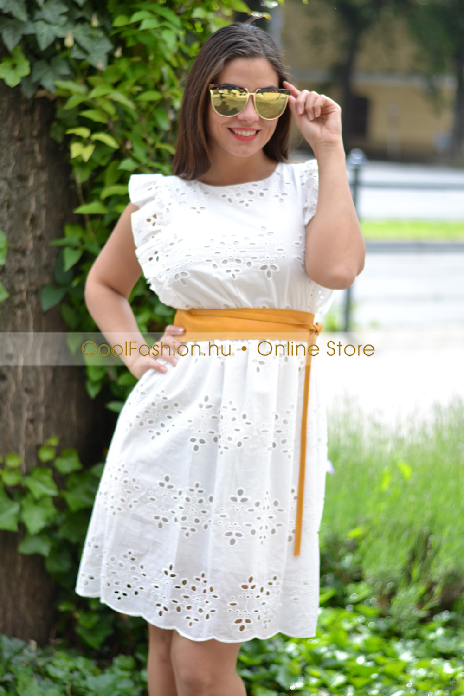 15164c39bb Madeira csipkés fodros ruha - Cool Fashion