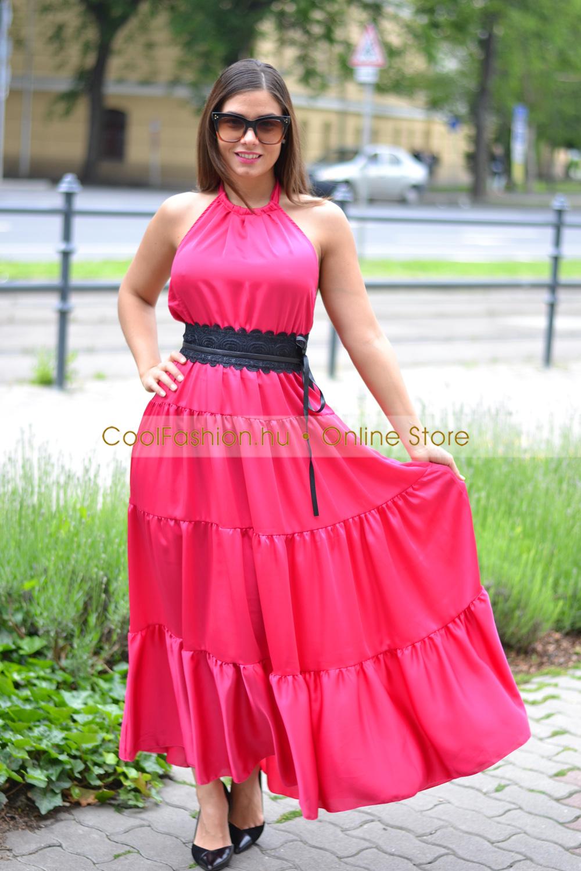fae21198dc Selyem fodros hullám maxi ruha - Cool Fashion