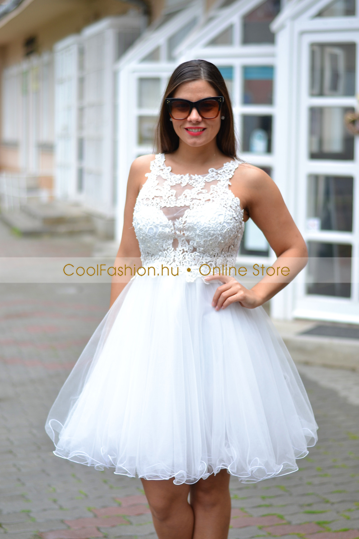 903f110bce Görög csipkés push-up fehér mini tüll ruha - Cool Fashion