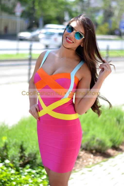 Bellagio bandage színes mini ruha