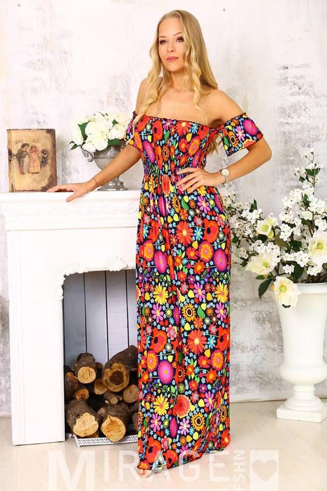 9edf7762b5 Jázi színes virágos ejtett vállú maxi ruha - Cool Fashion