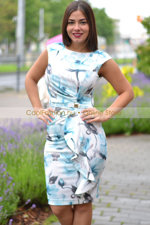 006a96036c Cosmo türkiz pipacsos ruha - Cool Fashion