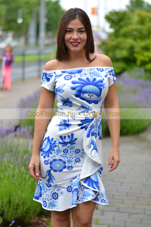 ade676f83f Fortuna matyómintás fodros ruha - Cool Fashion