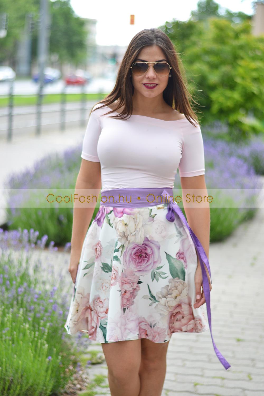 2d7ca80bc1 Viva fehér virágos loknis szoknya - Cool Fashion