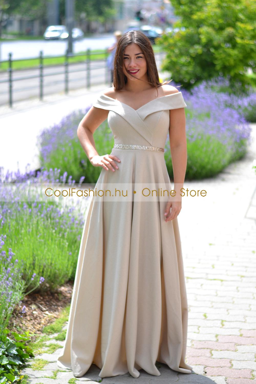 74150175ee FV ejtett vállú lurex maxi ruha - Cool Fashion