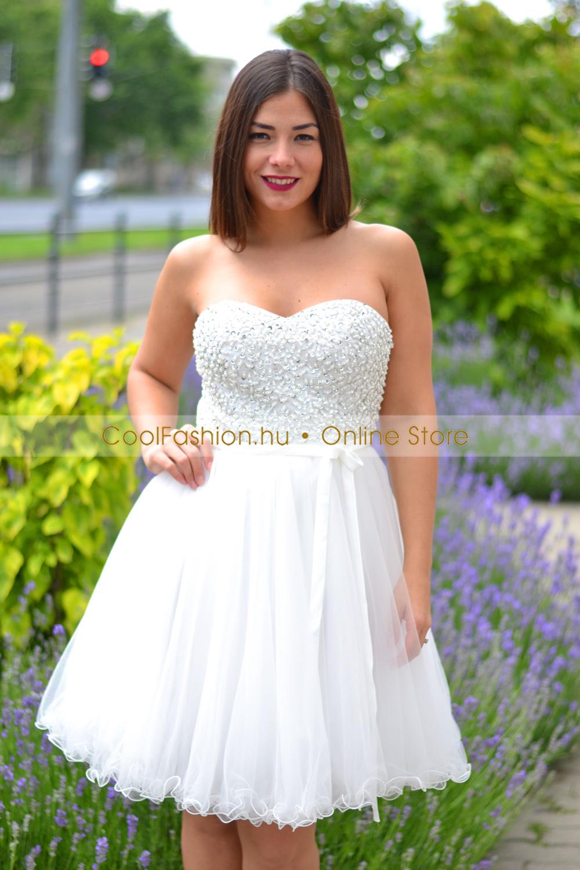 73fb7827d7 Köves fehér tüll ruha - Cool Fashion
