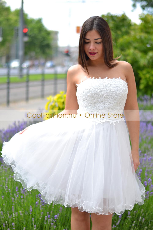 cc3bd80a24 Hímzett fehér tüll ruha - Cool Fashion