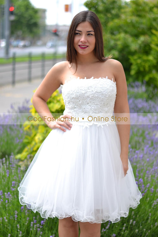 af890940d1 Hímzett fehér tüll ruha - Cool Fashion