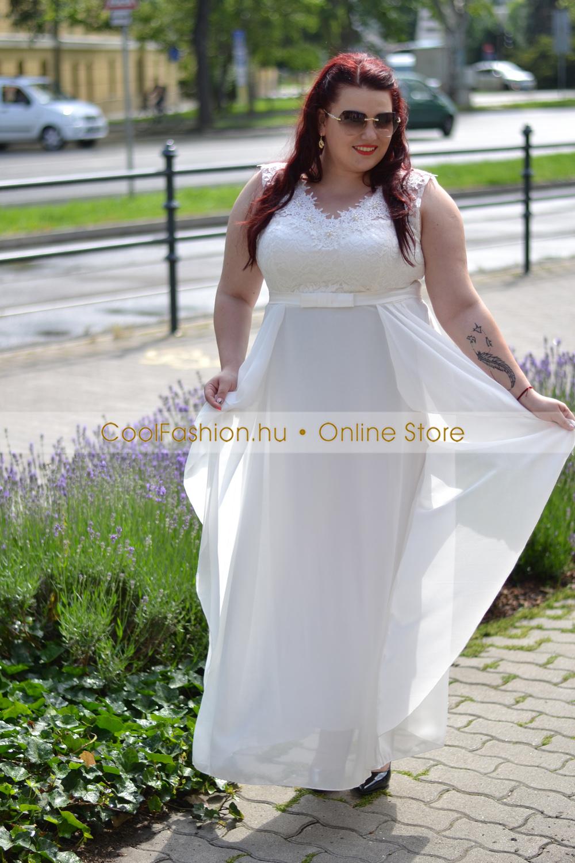 daf185ffd4 Molett fehér muszlin csipkés peplum maxi ruha - Cool Fashion