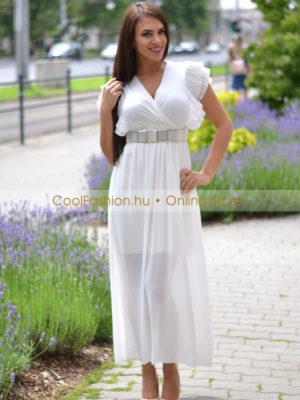 520f3443b2 Pillangó fehér átlapolt fodros maxi ruha